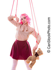 woman girl stylized like marionette puppet on string -...