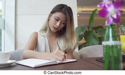 Businesswoman writing in the daily planner