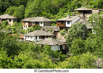 Old stone Bulgarian houses - Old Bulgarian houses in the...