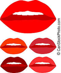 kiss lips color vector with teeth
