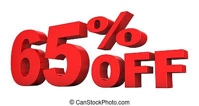 65 Percent Off - 3d render of 65 percent off sale text...