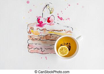 aquarelle, gâteau, cerises, dessert