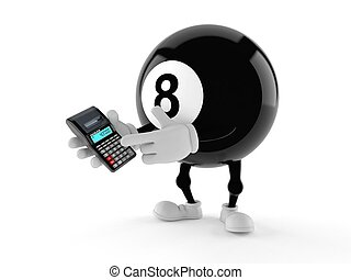 Eight ball character using calculator