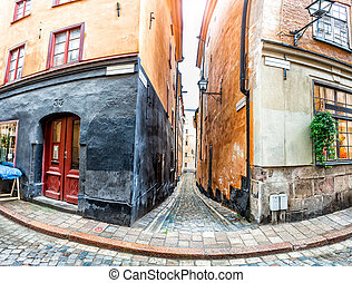 Stockholm Old Town streets - Narrow street in Stockholm Old...