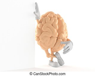 Brain character leaning against a wall