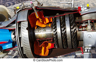 Closeup of Motor of helicopter with turbine