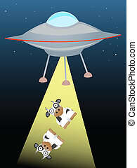 Ufo beaming up two cows in beam of - Spaceship is abducting...