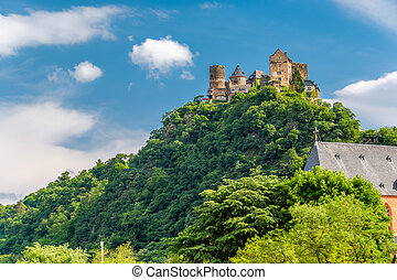 Schonburg Castle at Rhine Valley near Oberwesel, Germany.