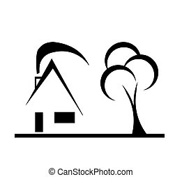modern design house sketch vector with tree and chimney on...