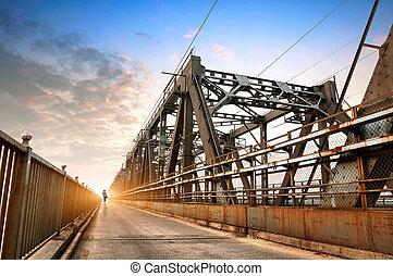 Old railway bridge - Rusty railway bridge, China Nanchang...