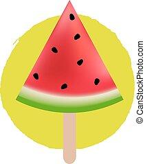 Water Melon Gradient Mesh, Vector Illustration