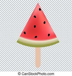 Water Melon Ice Cream Gradient Mesh, Vector Illustration