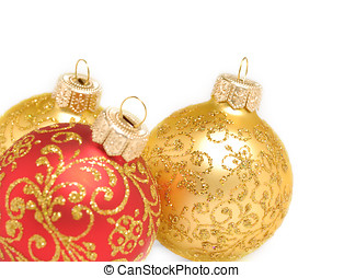 Christmas decorations background - Red and golden christmas...