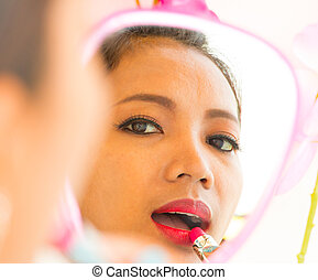Mirror Lipstick Application Shows Beauty And Pretty