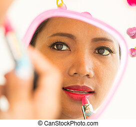 Lipstick In Mirror Application Shows Beauty And Makeup