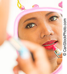 Lipstick In Mirror Shows Beauty And Makeup