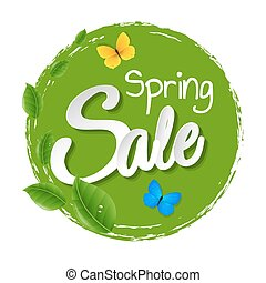 Illustration Sale Poster With Leaves