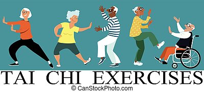 Tai Chi exercises - Diverse group of senior citizens doing...
