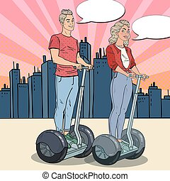 Pop Art Young Man and Woman Riding Segway in the City. Urban...