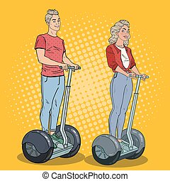 Pop Art Young Man and Woman Riding Segway. Happy Couple...