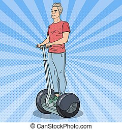 Pop Art Young Man Riding Segway. Urban Transport. Vector...
