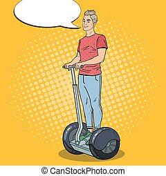 Pop Art Young Man Driving Segway. Urban Transport. Vector...