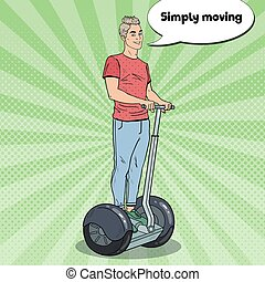 Pop Art Young Man Using Segway. Urban Transport. Vector...