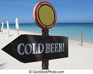 Cold Beer Sign - A sign on the beach in Roatan, Honduras...