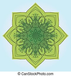 Green eight-pointed mandala. There is an option in the...