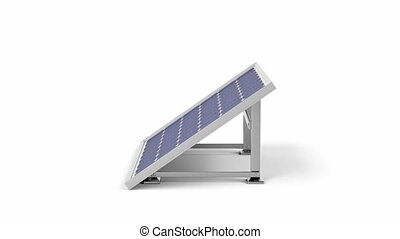 Solar panel spins on white background