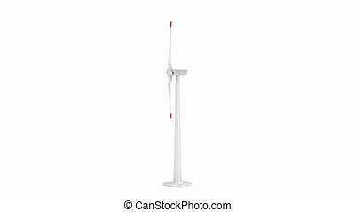 Wind turbine spins on white background