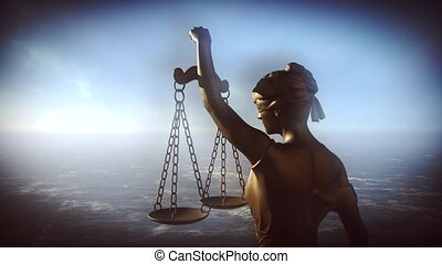 Themis with scale and sword. Justice and law symbol statue