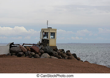 Lifeguard tower of rescuers on the Gulf of Finland. Kotlin...