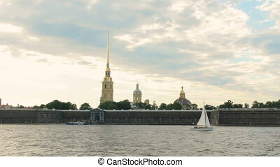 Russia St. Petersburg panorama of the city from the river Neva