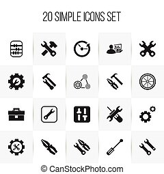 Set Of 20 Editable Repair Icons. Includes Symbols Such As Time, Wrench Hammer, Portfolio And More. Can Be Used For Web, Mobile, UI And Infographic Design.