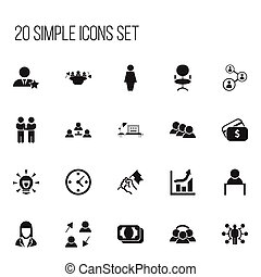 Set Of 20 Editable Trade Icons. Includes Symbols Such As Businessman, Agreement, Meeting And More. Can Be Used For Web, Mobile, UI And Infographic Design.