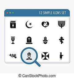Set Of 12 Editable Faith Icons. Includes Symbols Such As Candle Light, Hanukkah, Dove. Can Be Used For Web, Mobile, UI And Infographic Design.