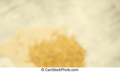 Over top view of Roasted corn on wooden background in...