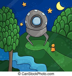 illustration about night landscape, ufo elements