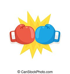 Boxing gloves fight icon, red vs blue. Battle emblem cartoon...