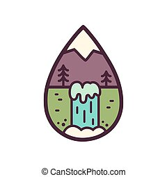 Mountain and waterfall illustration