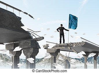 Man with flag presenting leadership concept. - Rear view of...