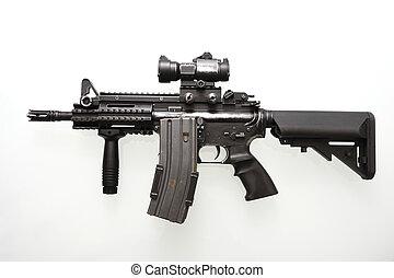 Pesadamente, usado, militar, M16, rifle