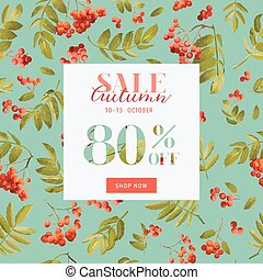 Autumn Sale Floral Banner. Fall Discount Background with...