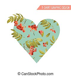 Autumn T-shirt Heart Floral Graphic with Rowanberry and...