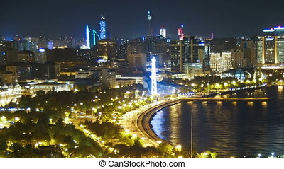 Panoramic View of the Big City Megalopolis by the Sea at...