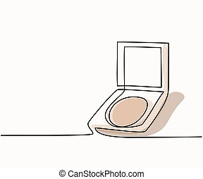 Cosmetic compact powder logo - Continuous line drawing....