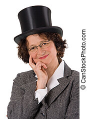 Woman with stovepipe hat - Content woman with stovepipe hat...
