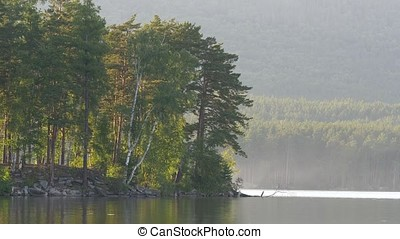 Beautiful lake landscape in a forest. Mountain lake and...