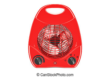 red fan heater closeup, 3D rendering isolated on white...